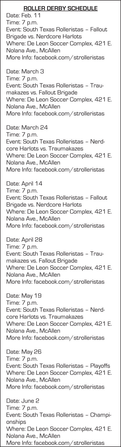 South Texas Rolleristas Schedule