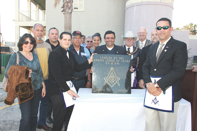 Members of the Port Isabel Masonic Lodge #33 are shown during an age-old cornerstone ceremony dedicating the long-awaited community and event center. (Staff photos by Ray Quirga)