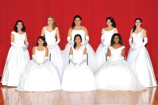 Lower Valley Cotillion debutantes from Port Isabel seen (front, l-r) are Anissa Perez, Isis Garcia, Sophie Meisel, (back, l-r) Emily Ochoa, Taryn Reeves, Ana Loza, Daysha Gonzalez and Daniela Salinas. (Courtesy photo)