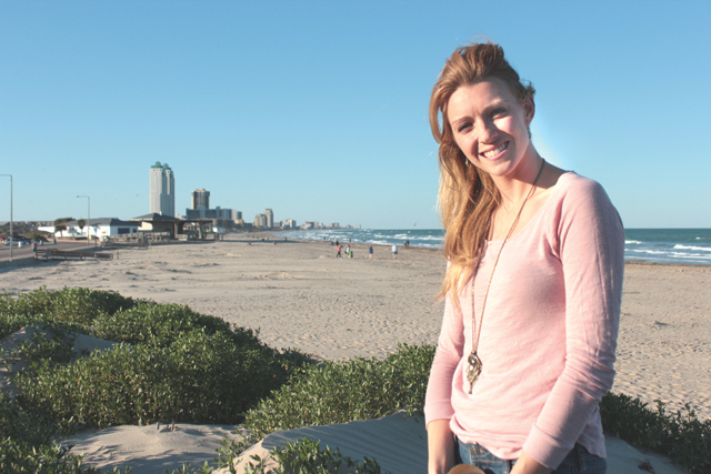 Jammie Barnhill is shown at the beaches of South Padre Island, where she'll service as the Cameron County Beach Safety Coordinator. (Staff photo by Craig Alaniz)