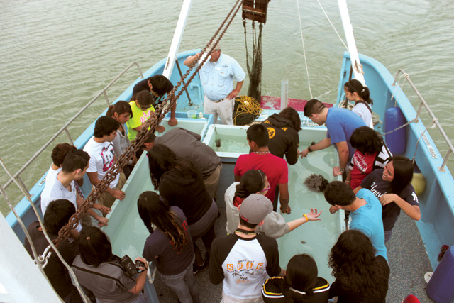 Seen are students from the Laguna Madre area aboard a floating classroom. (Staff photo by Craig Alaniz)