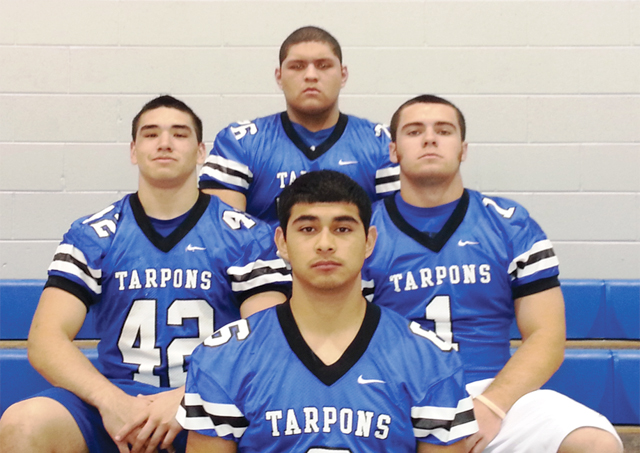 The Tarpons  football team were honored to the 2012-2013 Texas Sportswriters Association All-State Football. Seen (l-r, first row) is Luis Aguilera – 3rd team Defensive Back; second row is Esteven Montelongo – Honorable Mention Linebacker, Jacques Guillot – Honorable Mention Defensive Linemen, and in the third row is Mark Benavides – 2nd team Offensive Tackle. (Courtesy photo)