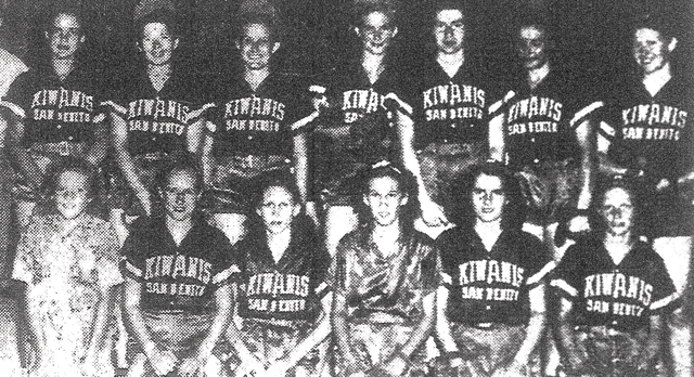 San Benito's strong battery combination of Frances King (left) and catcher Evelyn Bertram – members of the 1941 Kiwanis softball squad, are shown in the photo below. The team is also seen here. (Courtesy photos)