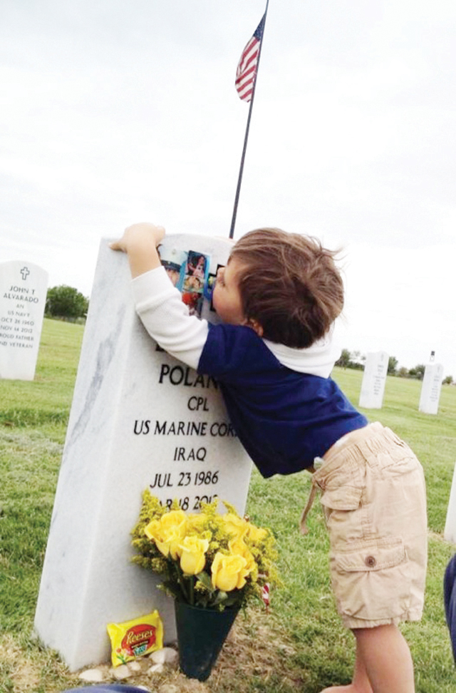 Twenty-three month-old Evan Polanco is seen (above) at his father's, Eddie Polanco's (below) grave at the Rio Grande Valley Veteran's State Cemetery on Easter Sunday 2012. (Courtesy photos)
