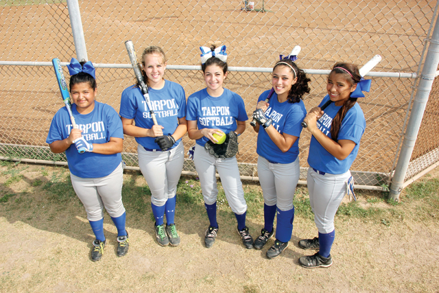"No matter what happens during the remainder of this year's high school softball season, the Lady Tarpons will be in postseason play and have already recorded a number of ""firsts"" in the program's history and without a senior presence on the team. Seen here are some of the young standouts on the squad including Kaila Torres, Kelcie Swink, pitcher Daniela Salinas, Alexandria Nicole Martinez and Sarah Rodriguez. (Staff photo by Ray Quiroga)"