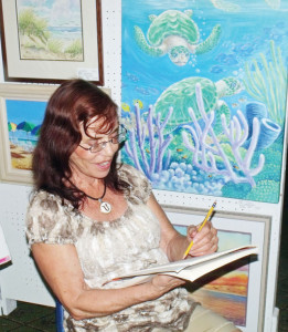 Virginia Eggert demonstrates how to sketch a scene before painting it. (Courtesy photo)