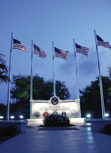 Laguna Vista's Veterans Memorial Park stands in quiet stillness at dusk earlier this week while the park's lights beautifully illuminate its centerpiece monument. (Staff photo by Ray Quirgoa)