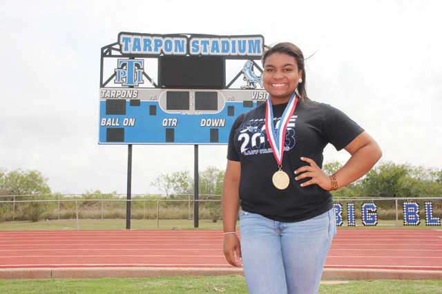 Port Isabel High School track and field standout Daniella Lynn Murchison secured the 3A shot put state title last weekend. (Staff photo by Ray Quiroga)