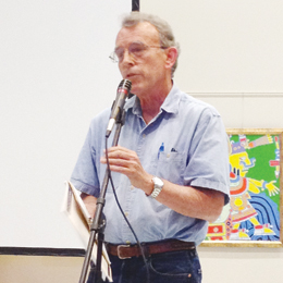 Jim Chapman of the Frontera Audubon Society speaks at the SpaceX public hearing in Brownsville on Tuesday. (Photo by Christina R. Garza)