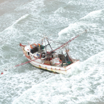 (U.S. Coast Guard photo by Air Station Corpus Christi) The Mexican shrimper Jackie C. aground on South Padre Island Thursday, Sept. 4. As 67 fishing vessels sought safe refuge in the Port of Brownsville to escape heavy seas from Tropical Storm Dolly, three of the vessels ran aground.