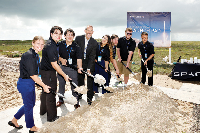 (UTB photo) Physics students from the University of Texas at Brownsville are seen participating in the groundbreaking ceremony for the SpaceX commercial launch site on Boca Chica Beach Monday, Sept. 22.