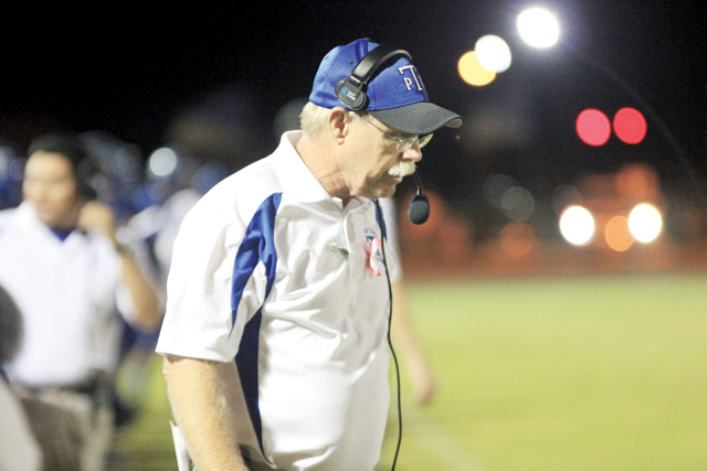 (Staff photo by Ray Quiroga) Port Isabel Tarpons Head Coach Monty Stumbaugh is seen pacing the sidelines during recent football action.
