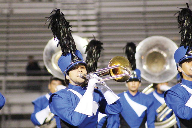 (Photo by Marina Wise-Herring) Trombone player Morris Martinez of the Port Isabel High School Silver Tarpon Band is seen during the Area competition performance.