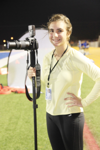 (Staff photo by Ray Quiroga) Marina Wise-Herring of Port Isabel High School is seen taking photos at a recent Tarpons football game. She also assists the Port Isabel-South Padre Press as a contributing writer.