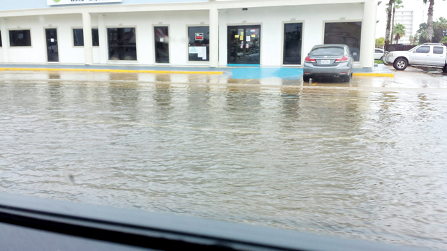 (Staff photo) South Padre Island streets experienced several inches of flooding after torrential rains swept through the area on Saturday, Sept. 27.