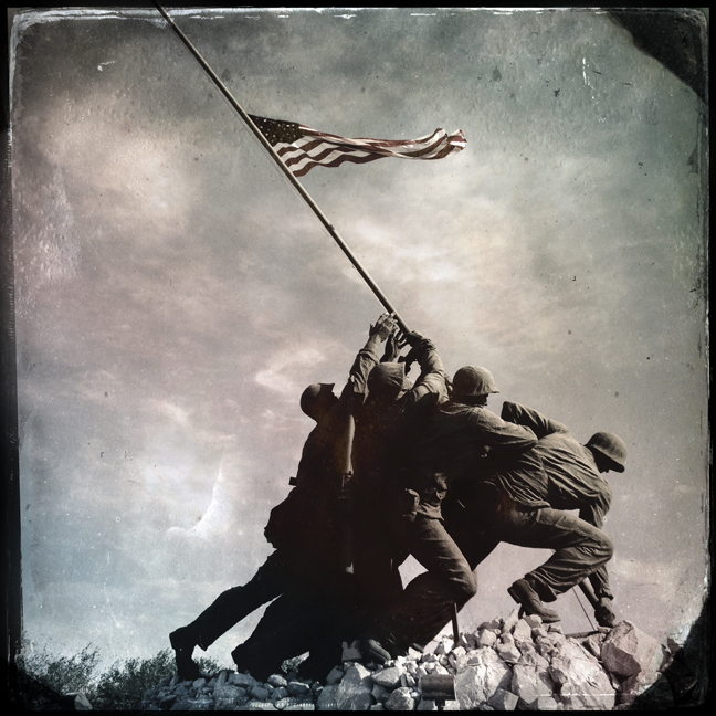 Shown is an original photograph - digitally manipulated at the time of its creation - of the Iwo Jima Memorial in Harlingen. The memorial immortalizes the moment U.S. forces captured Mount Suribachi on the island of Iwo Jima during World War II.